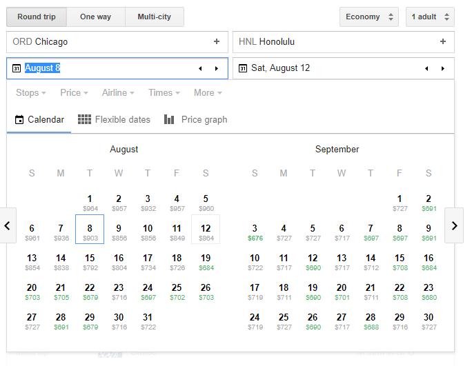 Low Fare Calendar Screenshot