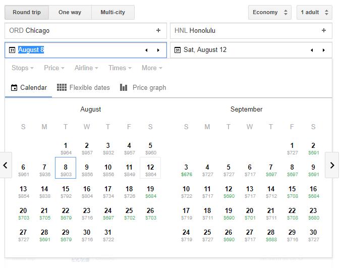 Low Fare Calendar Screenshot