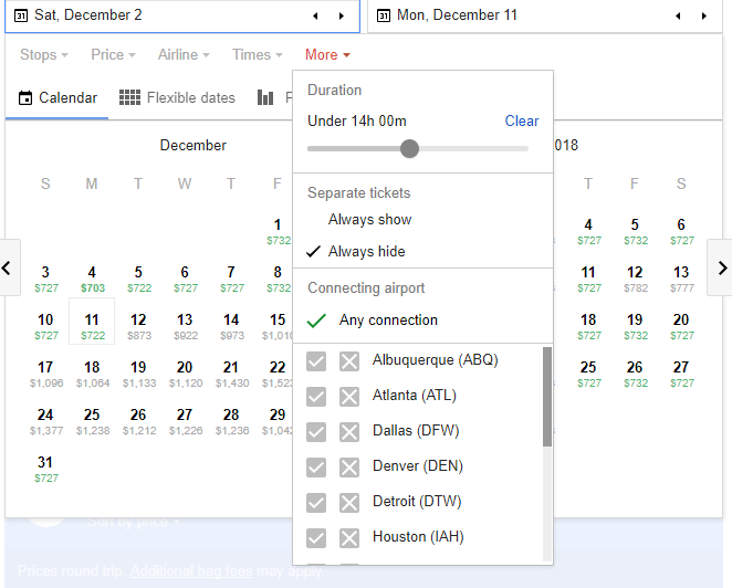 Filters available on Google Flights