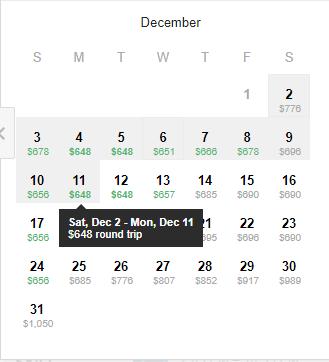 Calendar of Return Flight Fares