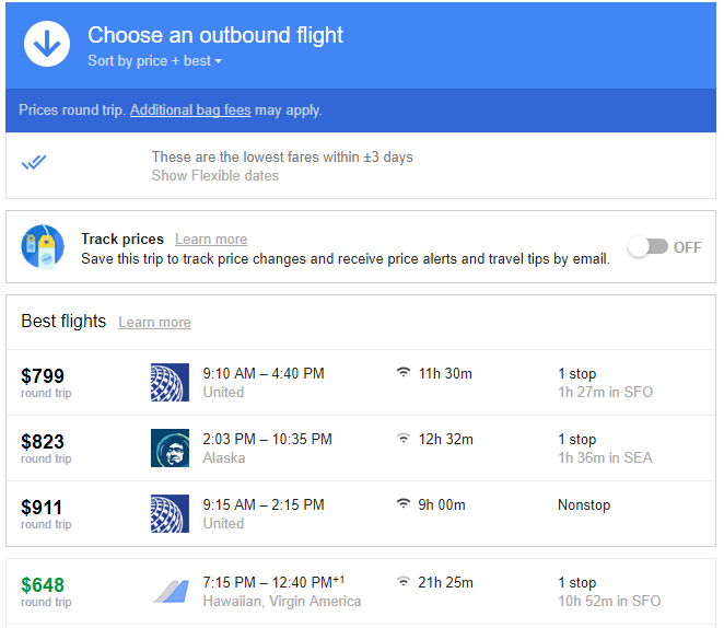 List of specific flights and details
