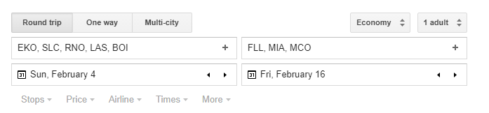 Comma Separate Multiple Airports on Google Flights