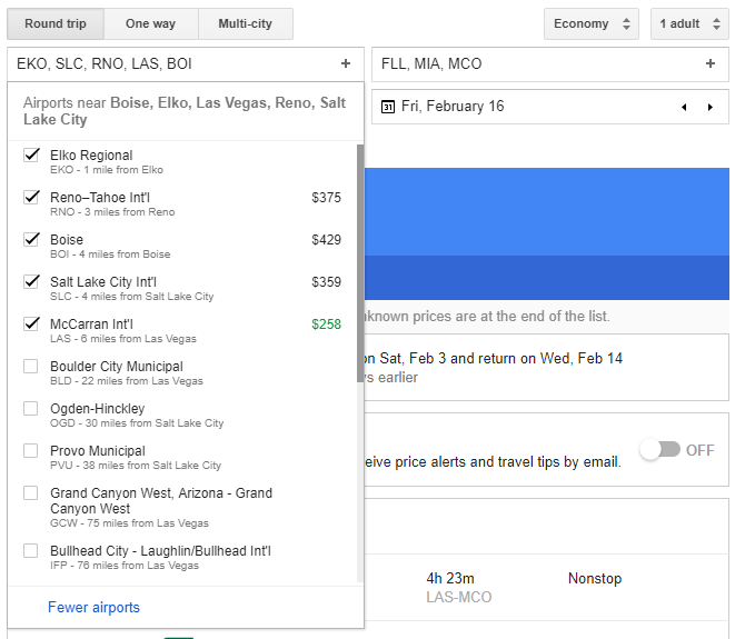 List of nearby airports provided by Google Flights