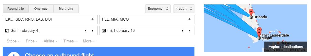 The Google Flights Destination Map