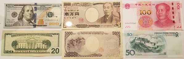 US, Chinese, and Japanese Currency