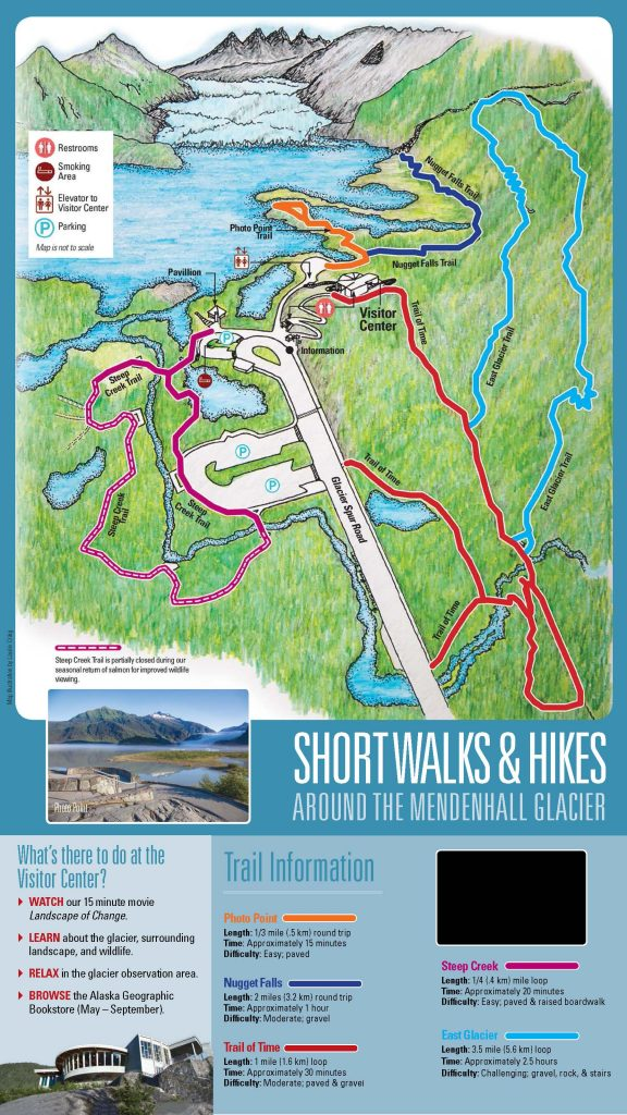 Pamphlet showing the trails available at Mendenhall Glacier